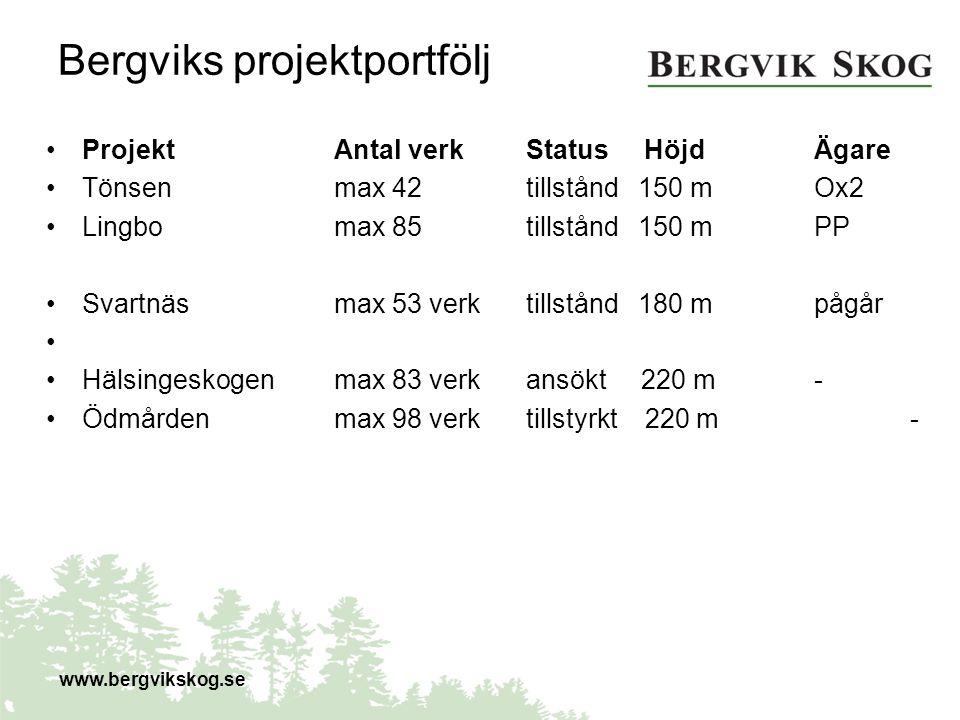 Bergviks projektportfölj ProjektAntal verkStatus HöjdÄgare Tönsenmax 42 tillstånd 150 mOx2 Lingbomax 85 tillstånd 150 mPP Svartnäsmax 53 verktillstånd