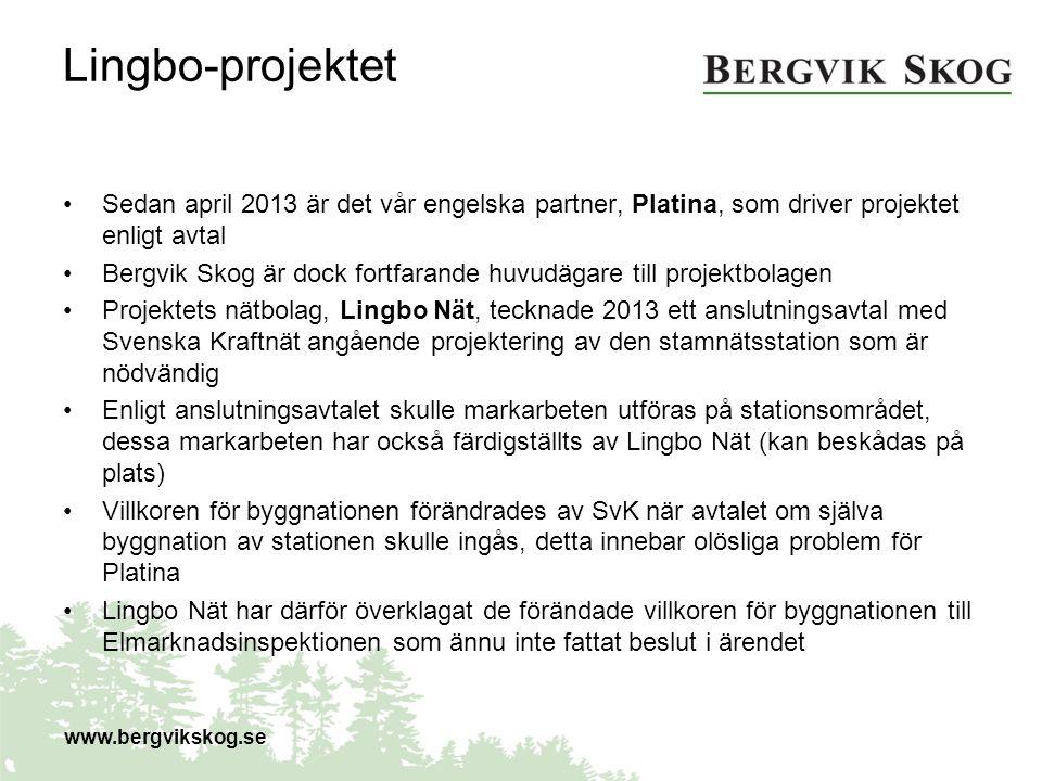 Lingbo-projektet Sedan april 2013 är det vår engelska partner, Platina, som driver projektet enligt avtal Bergvik Skog är dock fortfarande huvudägare