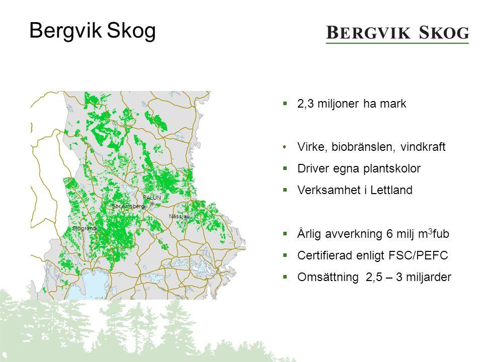  2,3 miljoner ha mark Virke, biobränslen, vindkraft  Driver egna plantskolor  Verksamhet i Lettland  Årlig avverkning 6 milj m 3 fub  Certifierad