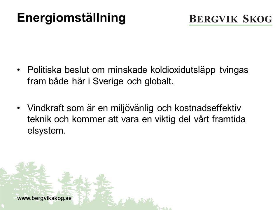 Energiomställning Politiska beslut om minskade koldioxidutsläpp tvingas fram både här i Sverige och globalt. Vindkraft som är en miljövänlig och kostn