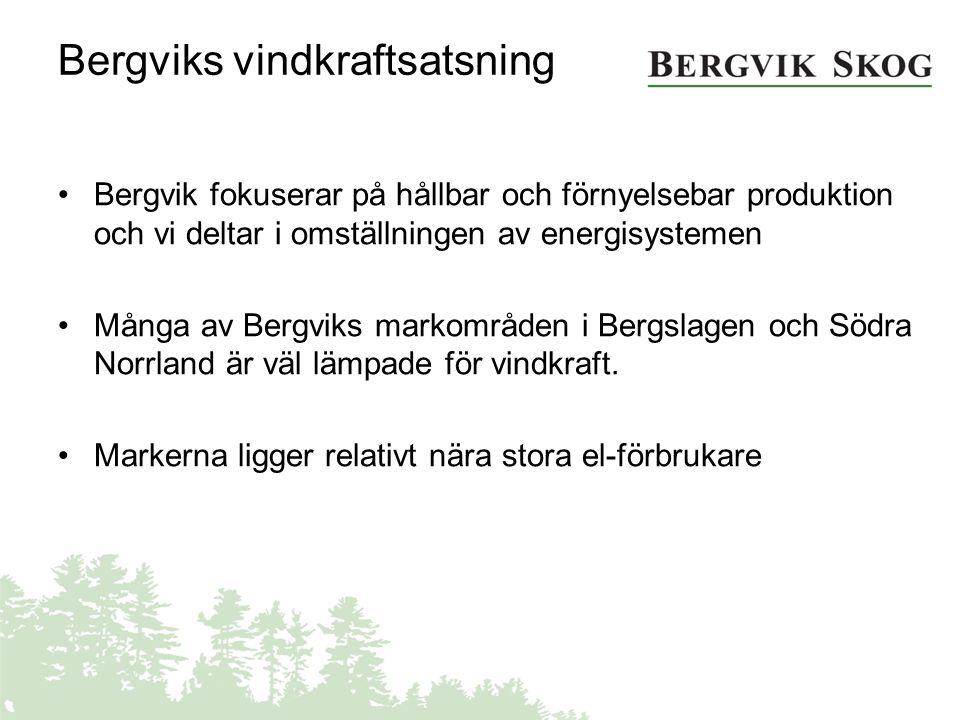 Bergviks markinnehav –Många högt belägna områden med goda vindresurser –Glest befolkade och generellt sett få motstående intressen –Projekterar i kommuner som är positivt inställda –Överlåter projekten till annan part som investerar