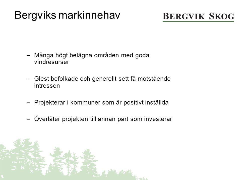 Bergviks markinnehav –Många högt belägna områden med goda vindresurser –Glest befolkade och generellt sett få motstående intressen –Projekterar i komm