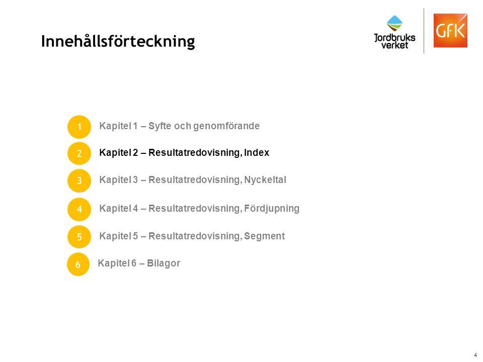 Resultatredovisning - Fördjupning Information om kapitlets innehåll: Utöver indexfrågor och nyckelfrågor ingår en stor mängd övriga frågor som syftar till att ge oss en ännu bättre förståelse kring beteende, uppfattningar/attityder samt kännedom kring mat, dryck och måltidsupplevelser i Sverige idag.