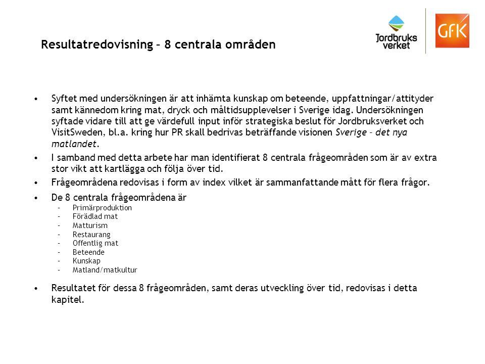 Syftet med undersökningen är att inhämta kunskap om beteende, uppfattningar/attityder samt kännedom kring mat, dryck och måltidsupplevelser i Sverige