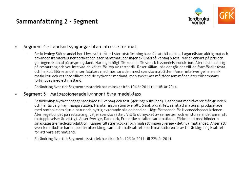 Sammanfattning 2 - Segment Segment 4 – Landsortsynglingar utan intresse för mat –Beskrivning: Större andel bor i hyresrätt. Äter i stor utsträckning b