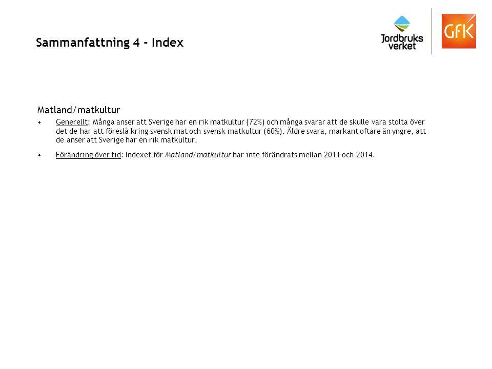 Sammanställning - Index (Q10 a, b, 7a,c, 24:1, 6, 9 o 16) Förtroendet för produktion, miljö och djurhållning Förknippas med Sverige som matland (inkl kontroll/märkning: Q10 c-f, 24:5) Förtroendet för förädling, kontroll och märkning.