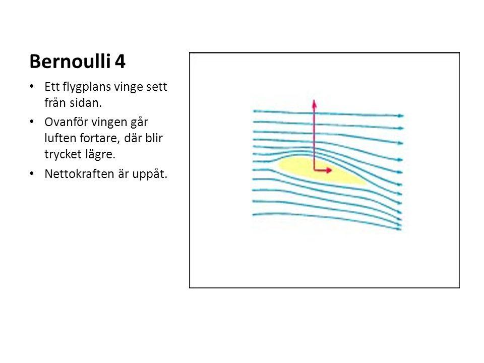 Bernoulli 4 Ett flygplans vinge sett från sidan. Ovanför vingen går luften fortare, där blir trycket lägre. Nettokraften är uppåt.
