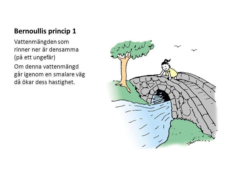 Bernoullis princip 1 Vattenmängden som rinner ner är densamma (på ett ungefär) Om denna vattenmängd går igenom en smalare väg då ökar dess hastighet.