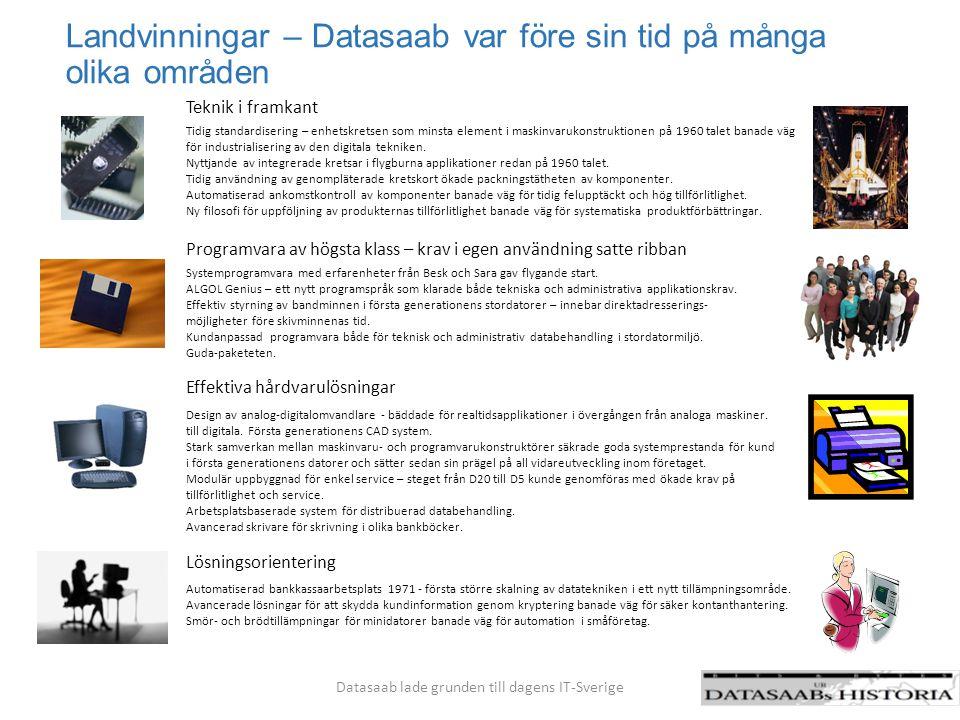 Landvinningar – Datasaab var före sin tid på många olika områden Datasaab lade grunden till dagens IT-Sverige Tidig standardisering – enhetskretsen so