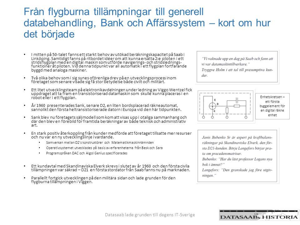 Förstudier CK 37/CD107 Datasaab´s civila produktlinjer i sammanfattning Sank/D2/D21 D22/D23 D5/D16 för Bank D5/D15/D16 för affärssystem 1960 1970 1980 Sperry -Univac Ericsson Datasaab lade grunden till dagens IT-Sverige
