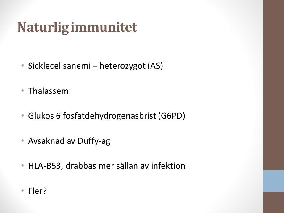 Naturlig immunitet Sicklecellsanemi – heterozygot (AS) Thalassemi Glukos 6 fosfatdehydrogenasbrist (G6PD) Avsaknad av Duffy-ag HLA-B53, drabbas mer sällan av infektion Fler?