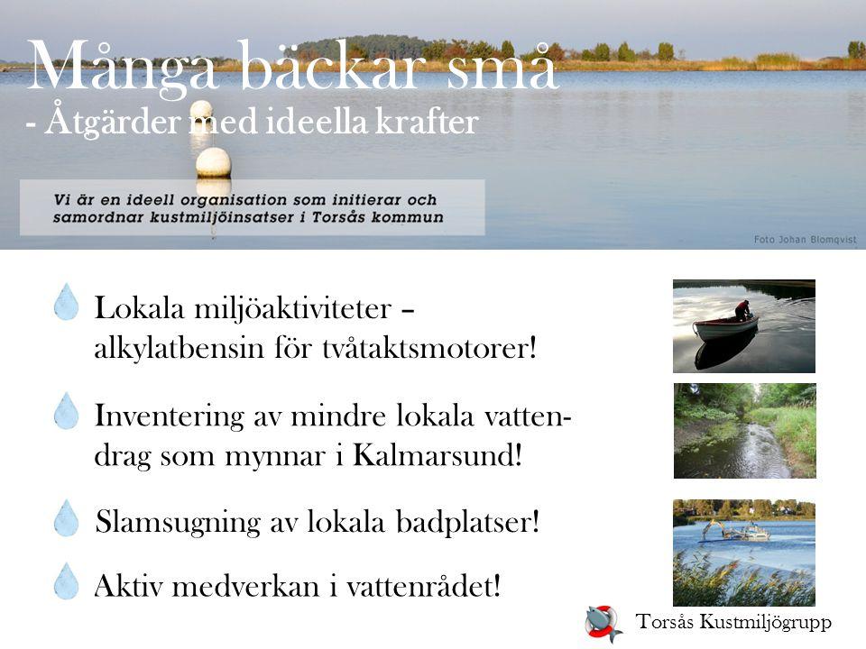 Många bäckar små - Åtgärder med ideella krafter Lokala miljöaktiviteter – alkylatbensin för tvåtaktsmotorer! Inventering av mindre lokala vatten- drag
