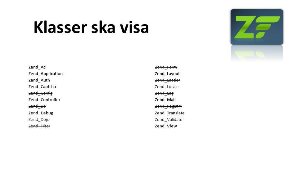 Klasser ska visa Zend_Acl Zend_Application Zend_Auth Zend_Captcha Zend_Config Zend_Controller Zend_Db Zend_Debug Zend_Dojo Zend_Filter Zend_Form Zend_