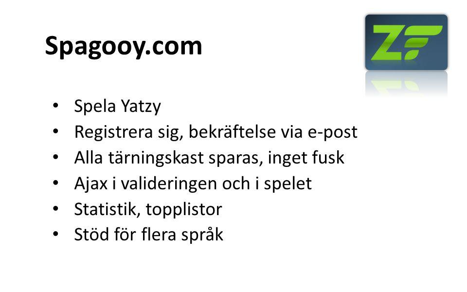 Spagooy.com Spela Yatzy Registrera sig, bekräftelse via e-post Alla tärningskast sparas, inget fusk Ajax i valideringen och i spelet Statistik, topplistor Stöd för flera språk