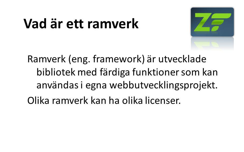 Vad är ett ramverk Ramverk (eng. framework) är utvecklade bibliotek med färdiga funktioner som kan användas i egna webbutvecklingsprojekt. Olika ramve