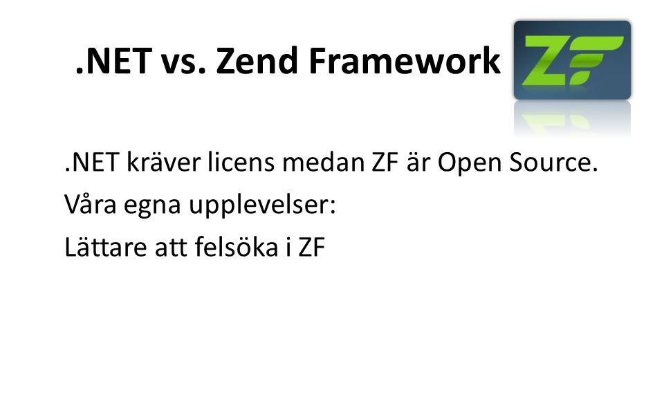 .NET vs. Zend Framework.NET kräver licens medan ZF är Open Source. Våra egna upplevelser: Lättare att felsöka i ZF