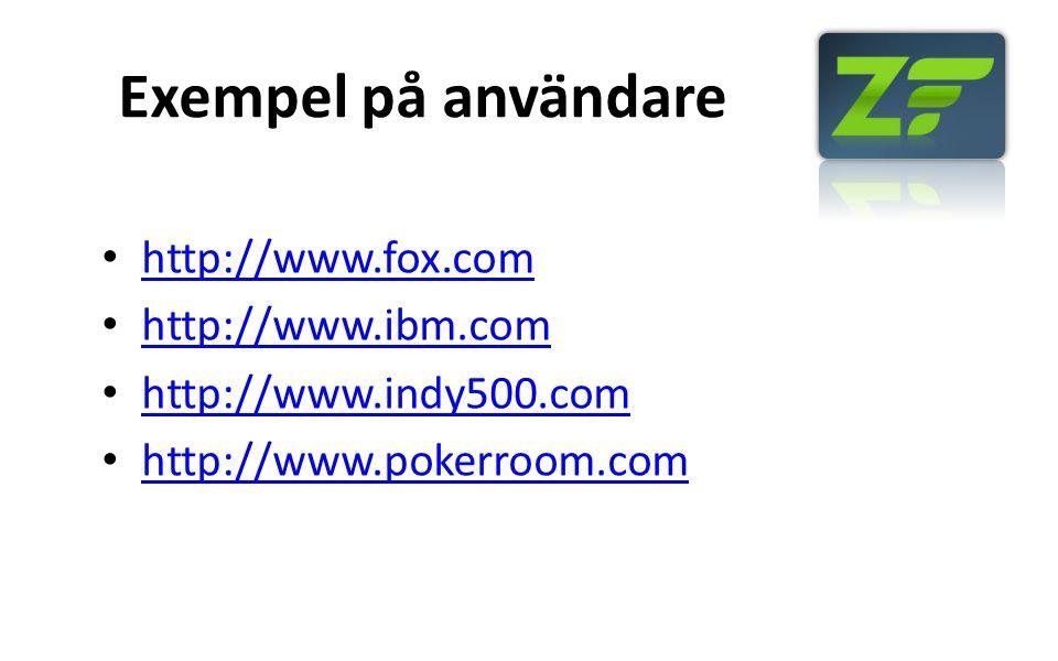 Exempel på användare http://www.fox.com http://www.ibm.com http://www.indy500.com http://www.pokerroom.com