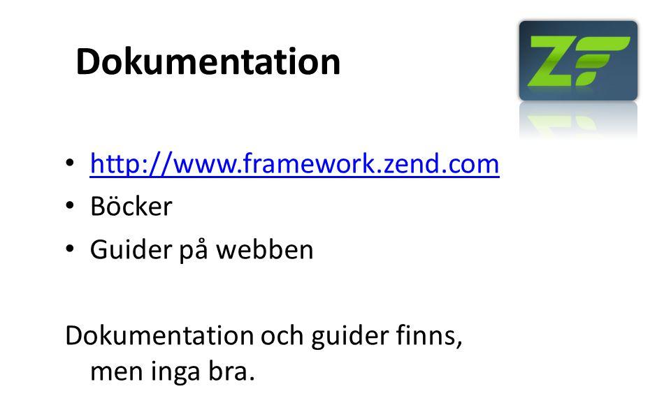 Dokumentation http://www.framework.zend.com Böcker Guider på webben Dokumentation och guider finns, men inga bra.