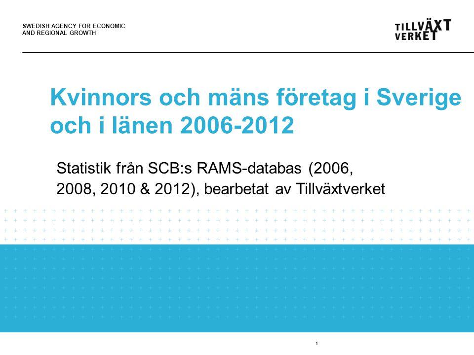 SWEDISH AGENCY FOR ECONOMIC AND REGIONAL GROWTH 1 Kvinnors och mäns företag i Sverige och i länen 2006-2012 Statistik från SCB:s RAMS-databas (2006, 2008, 2010 & 2012), bearbetat av Tillväxtverket