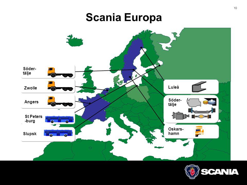 10 Scania Europa 6/17 Luleå Söder- tälje Oskars- hamn Slupsk Söder- tälje St Peters -burg Angers Zwolle