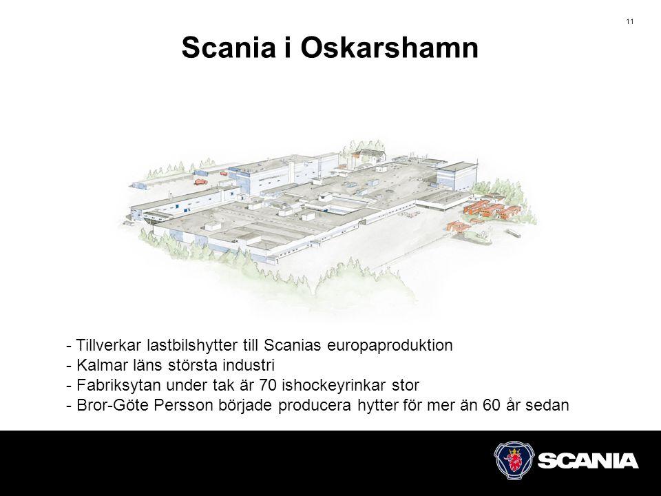11 Scania i Oskarshamn - Tillverkar lastbilshytter till Scanias europaproduktion - Kalmar läns största industri - Fabriksytan under tak är 70 ishockeyrinkar stor - Bror-Göte Persson började producera hytter för mer än 60 år sedan