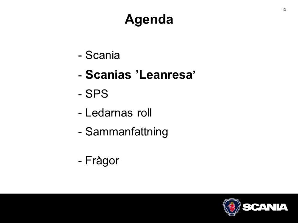 13 - Scania - Scanias 'Leanresa ' - SPS - Ledarnas roll - Sammanfattning - Frågor Agenda