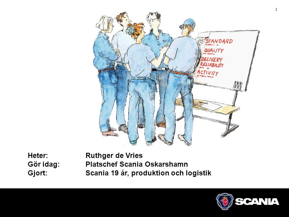 2 Heter: Ruthger de Vries Gör idag: Platschef Scania Oskarshamn Gjort:Scania 19 år, produktion och logistik