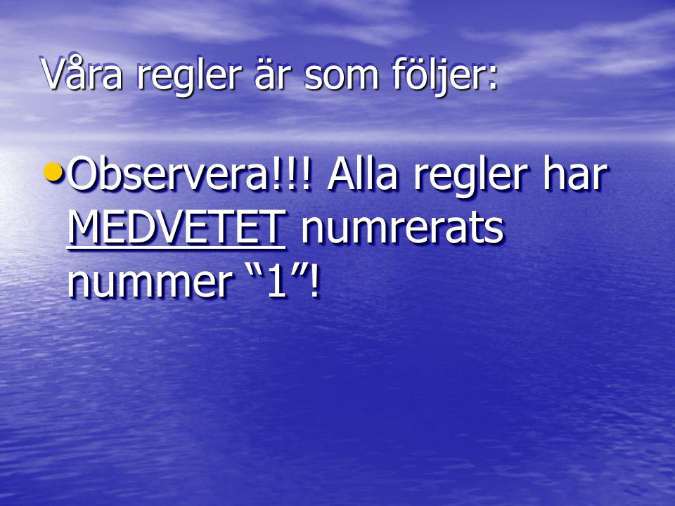 Våra regler är som följer: Observera!!. Alla regler har MEDVETET numrerats nummer 1 .