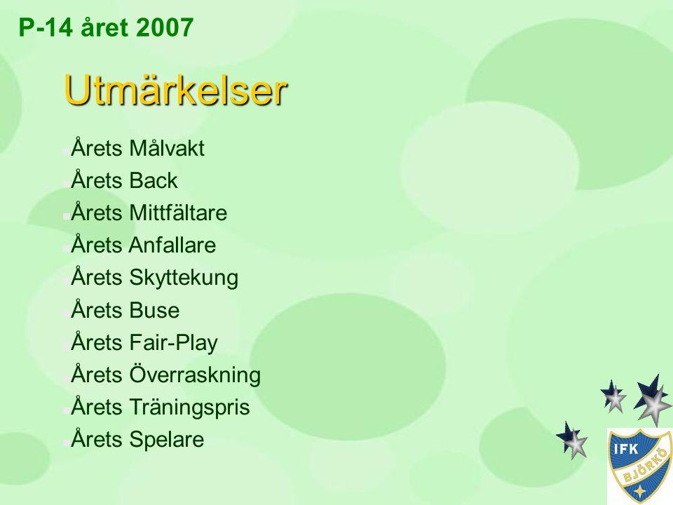 P-14 året 2007 Utmärkelser n Årets Målvakt n Årets Back n Årets Mittfältare n Årets Anfallare n Årets Skyttekung n Årets Buse n Årets Fair-Play n Året
