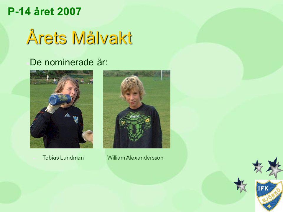 P-14 året 2007 Årets Målvakt n De nominerade är: n Tobias Lundman William Alexandersson