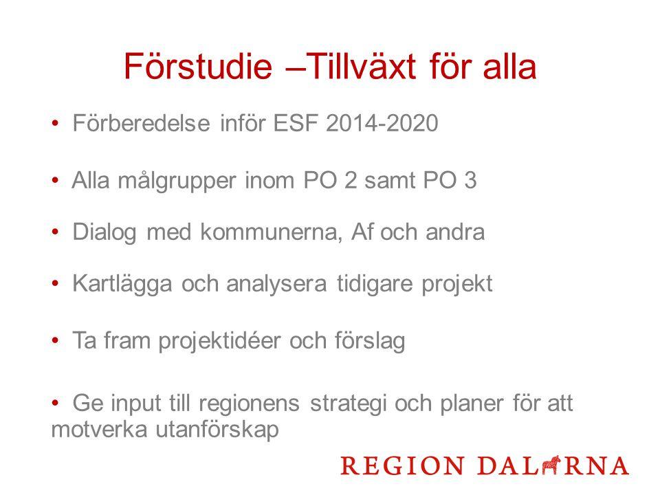 Förstudie –Tillväxt för alla Förberedelse inför ESF 2014-2020 Alla målgrupper inom PO 2 samt PO 3 Dialog med kommunerna, Af och andra Kartlägga och analysera tidigare projekt Ta fram projektidéer och förslag Ge input till regionens strategi och planer för att motverka utanförskap