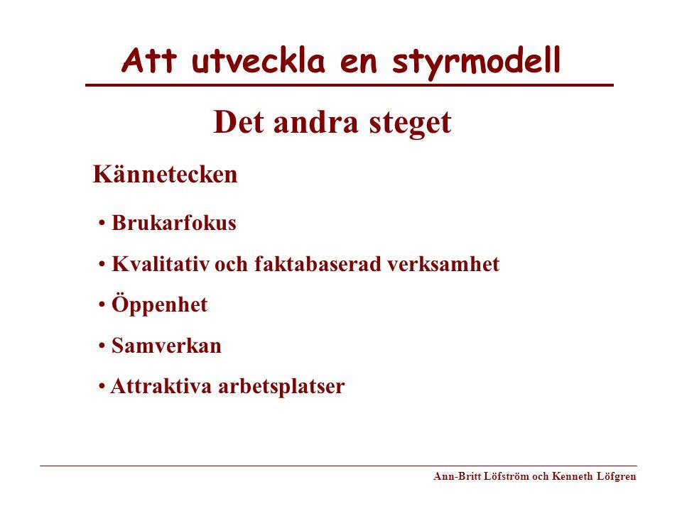 Att utveckla en styrmodell Ann-Britt Löfström och Kenneth Löfgren Kännetecken Brukarfokus Kvalitativ och faktabaserad verksamhet Öppenhet Samverkan At
