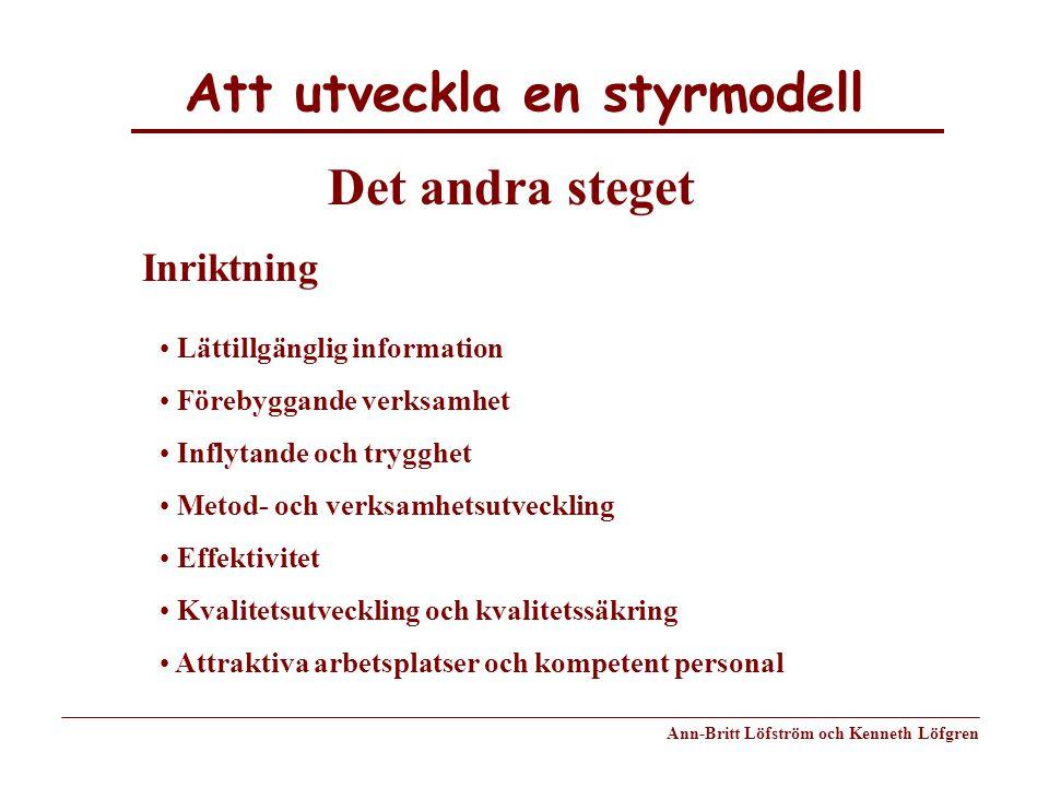 Att utveckla en styrmodell Ann-Britt Löfström och Kenneth Löfgren Det andra steget Inriktning Lättillgänglig information Förebyggande verksamhet Infly