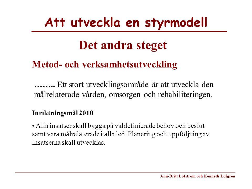 Att utveckla en styrmodell Ann-Britt Löfström och Kenneth Löfgren Det andra steget Metod- och verksamhetsutveckling …….. Ett stort utvecklingsområde ä