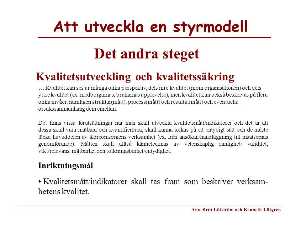 Att utveckla en styrmodell Ann-Britt Löfström och Kenneth Löfgren Det andra steget Kvalitetsutveckling och kvalitetssäkring … Kvalitet kan ses ur mång