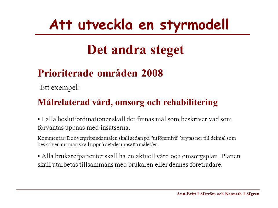 Att utveckla en styrmodell Ann-Britt Löfström och Kenneth Löfgren Det andra steget Prioriterade områden 2008 Ett exempel: Målrelaterad vård, omsorg oc