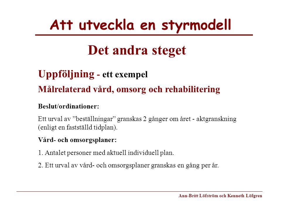 Att utveckla en styrmodell Ann-Britt Löfström och Kenneth Löfgren Det andra steget Uppföljning - ett exempel Målrelaterad vård, omsorg och rehabiliter