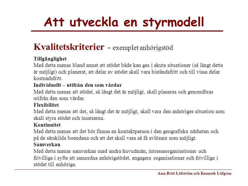 Att utveckla en styrmodell Ann-Britt Löfström och Kenneth Löfgren Tillgänglighet Med detta menas bland annat att stödet både kan ges i akuta situation