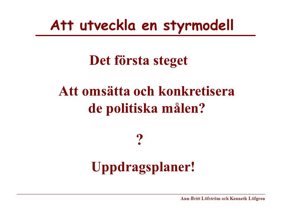 Att utveckla en styrmodell Ann-Britt Löfström och Kenneth Löfgren Det första steget Att omsätta och konkretisera de politiska målen? ? Uppdragsplaner!