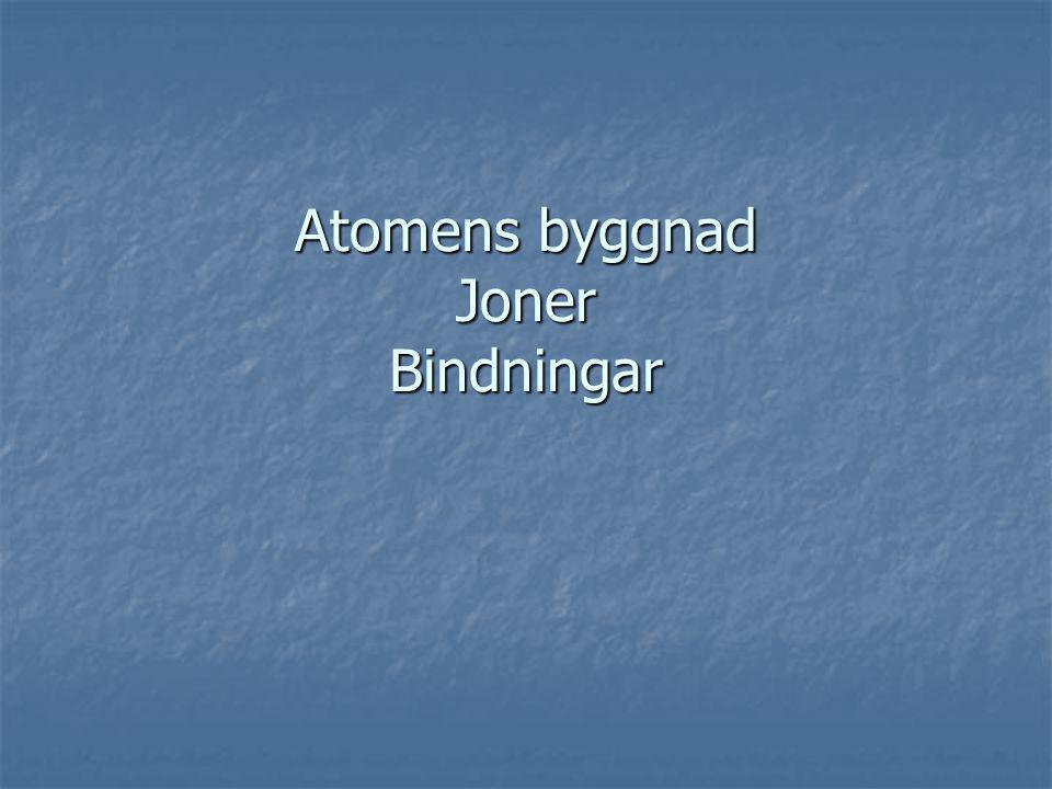 Atomens byggnad Joner Bindningar