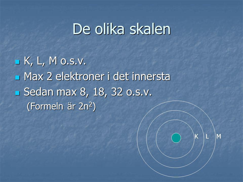 De olika skalen K, L, M o.s.v. K, L, M o.s.v. Max 2 elektroner i det innersta Max 2 elektroner i det innersta Sedan max 8, 18, 32 o.s.v. Sedan max 8,