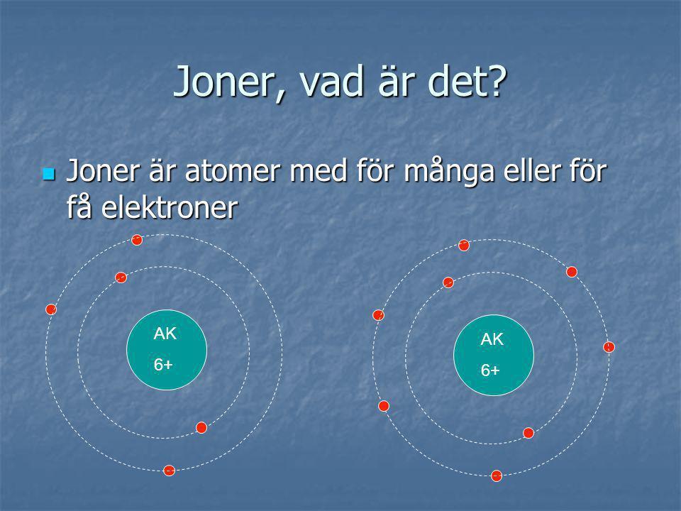 Joner, vad är det? Joner är atomer med för många eller för få elektroner Joner är atomer med för många eller för få elektroner AK 6+ AK 6+