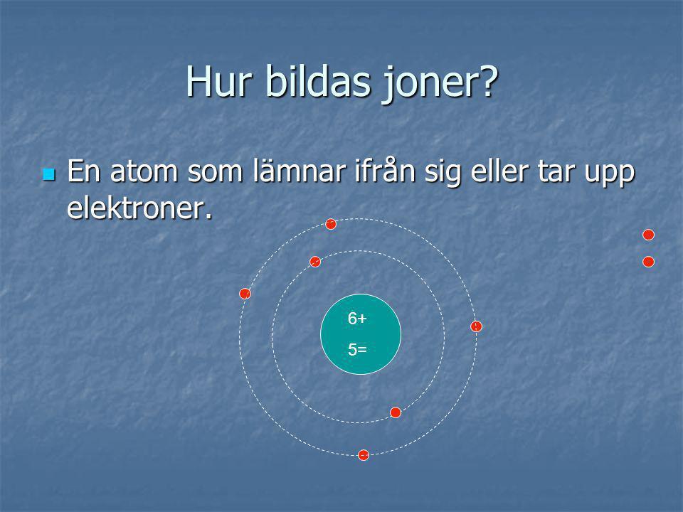 Hur bildas joner? En atom som lämnar ifrån sig eller tar upp elektroner. En atom som lämnar ifrån sig eller tar upp elektroner. 6+ 5=