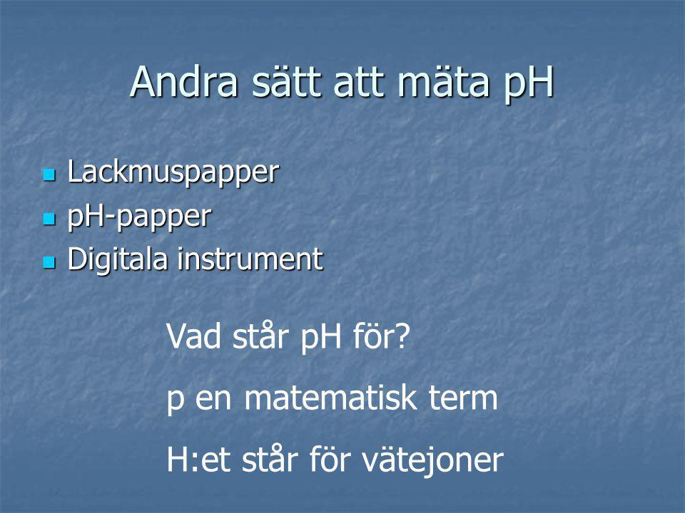 Andra sätt att mäta pH Lackmuspapper Lackmuspapper pH-papper pH-papper Digitala instrument Digitala instrument Vad står pH för? p en matematisk term H