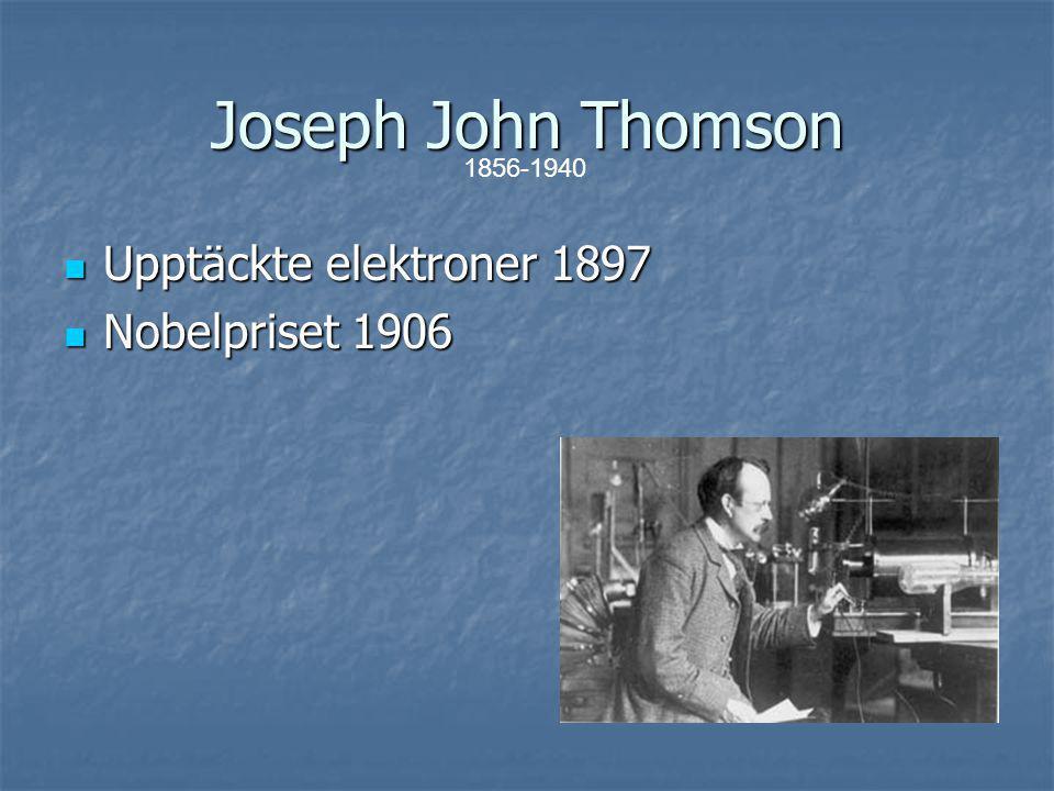 Ernest Rutherford Atomen har en positivt laddad kärna Atomen har en positivt laddad kärna Elektronerna bildar ett hölje Elektronerna bildar ett hölje