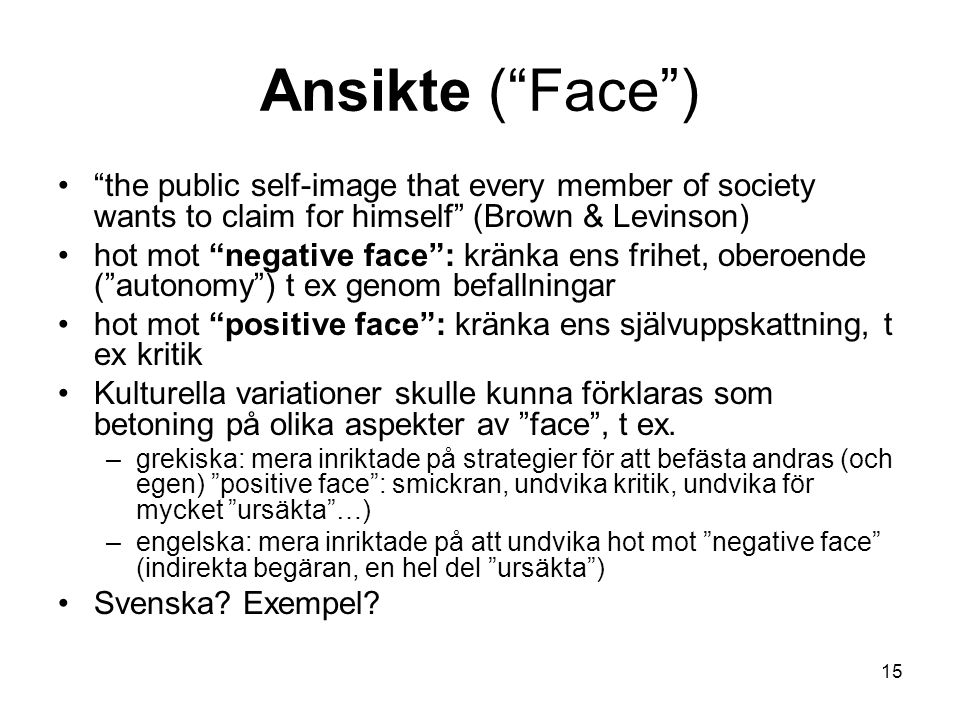 "Ansikte (""Face"") ""the public self-image that every member of society wants to claim for himself"" (Brown & Levinson) hot mot ""negative face"": kränka en"