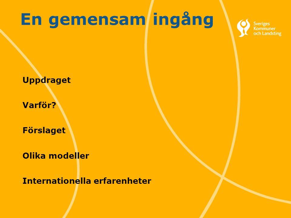 1 Svenska Kommunförbundet och Landstingsförbundet i samverkan En gemensam ingång Uppdraget Varför.