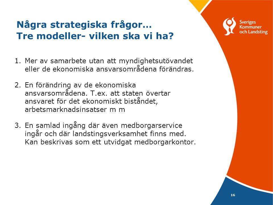 16 Några strategiska frågor… Tre modeller- vilken ska vi ha.