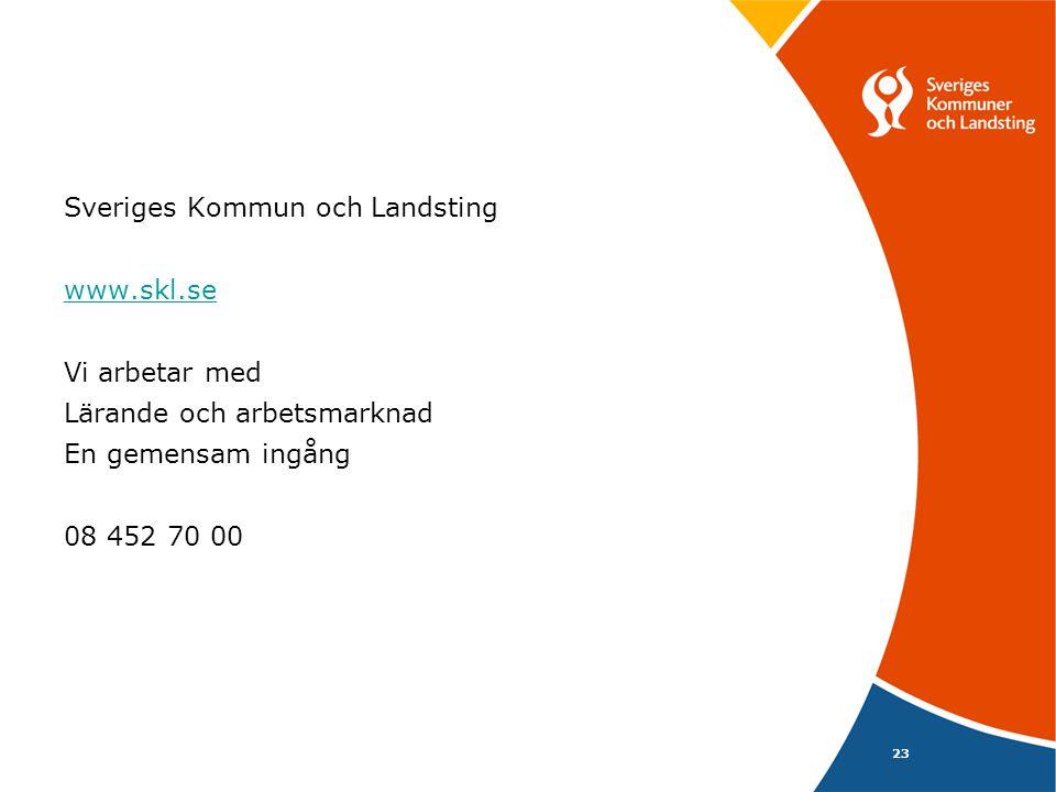 23 Sveriges Kommun och Landsting www.skl.se Vi arbetar med Lärande och arbetsmarknad En gemensam ingång 08 452 70 00