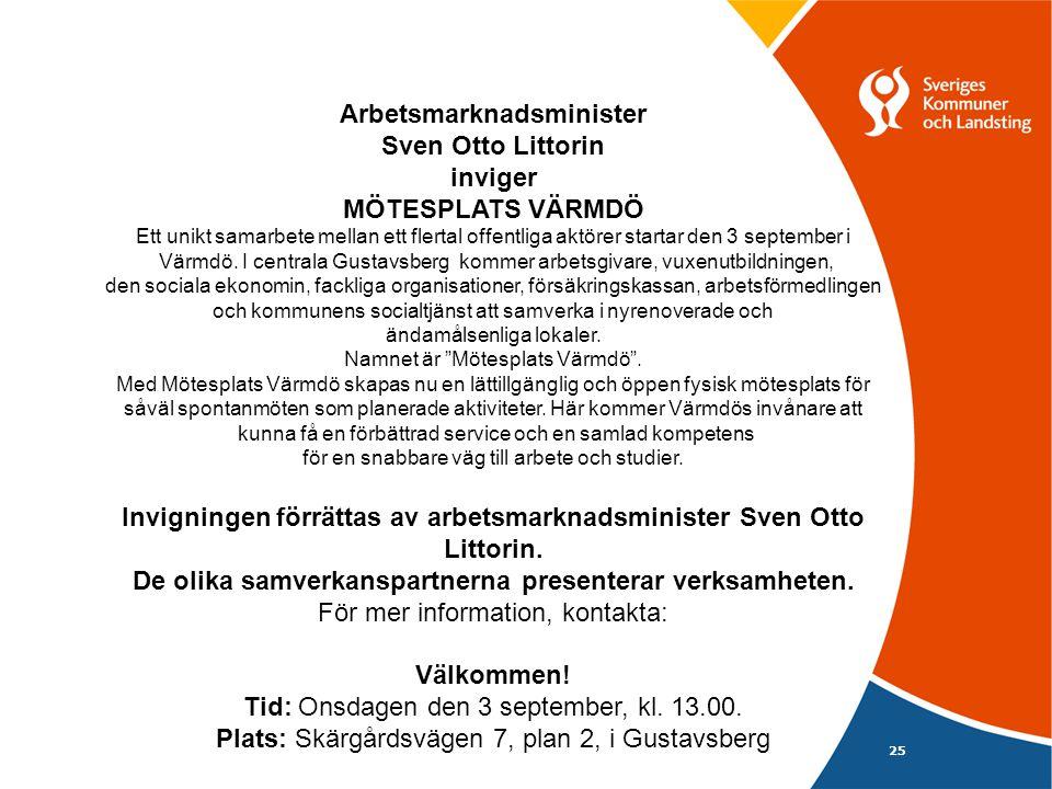 25 Arbetsmarknadsminister Sven Otto Littorin inviger MÖTESPLATS VÄRMDÖ Ett unikt samarbete mellan ett flertal offentliga aktörer startar den 3 september i Värmdö.